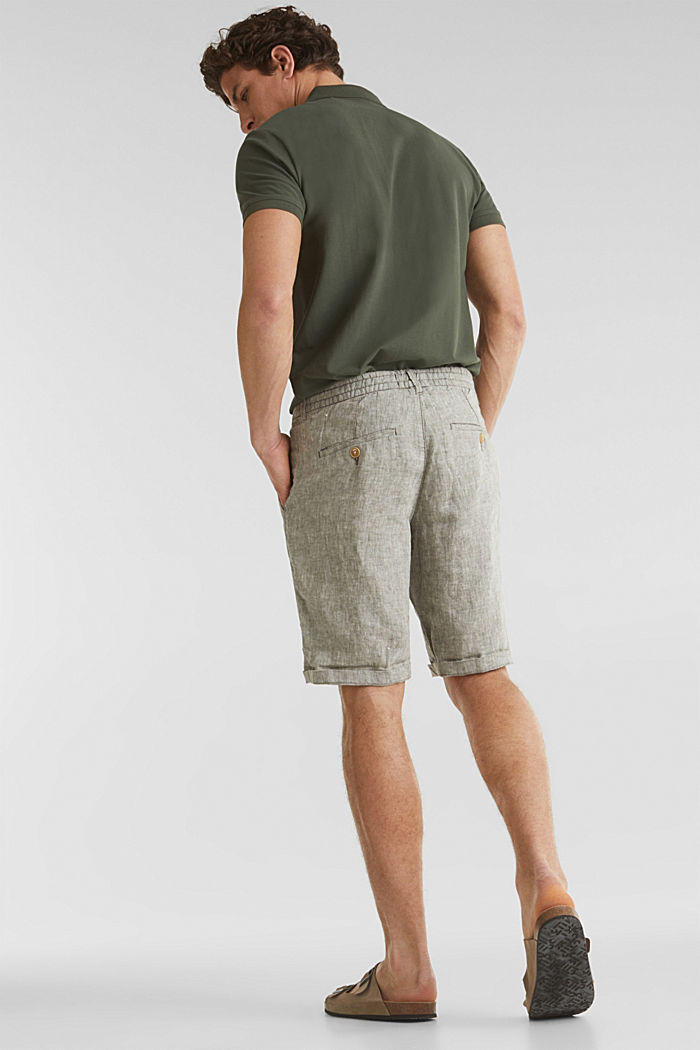 100% linen: shorts with a drawstring, LIGHT KHAKI, detail image number 3
