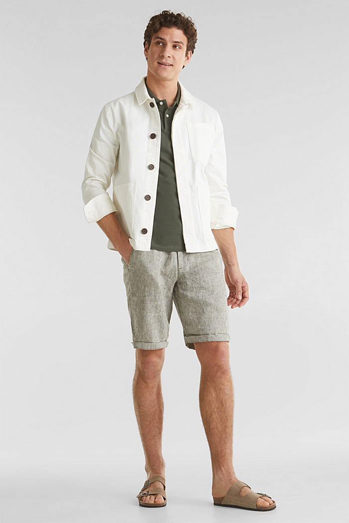 100% linen: shorts with a drawstring, LIGHT KHAKI, detail image number 1