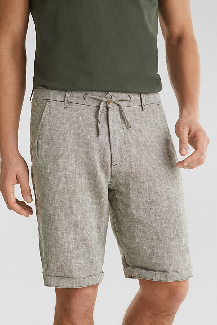 100% linen: shorts with a drawstring, LIGHT KHAKI, detail image number 2