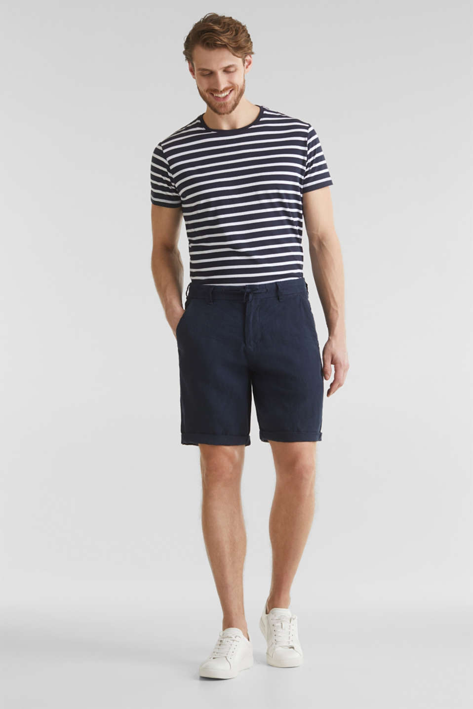 100% linen: shorts with a drawstring, NAVY, detail image number 0