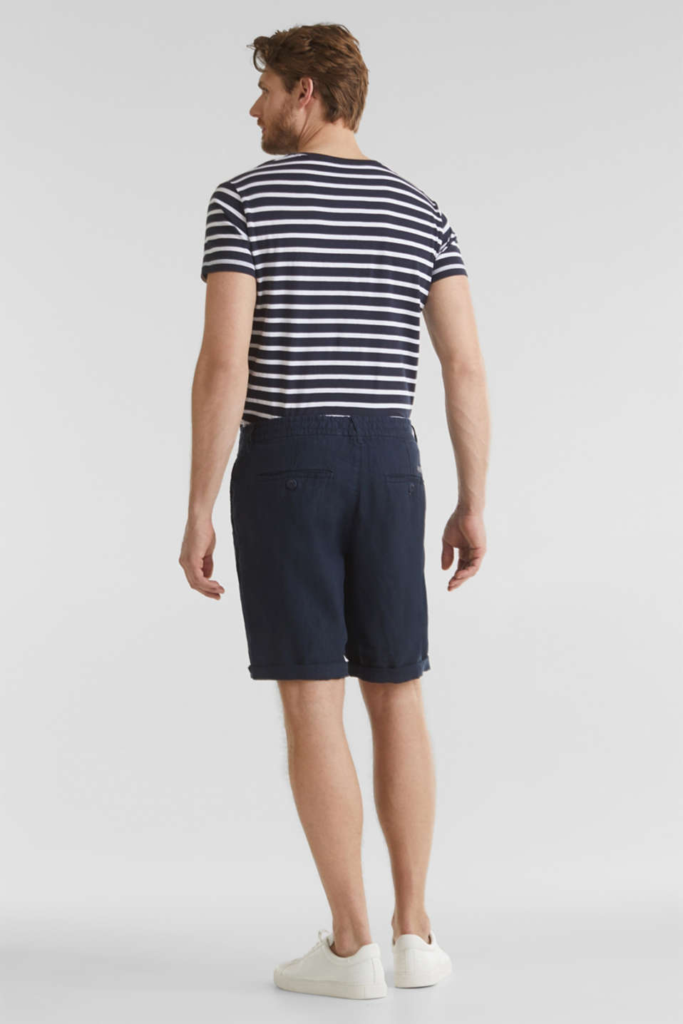 100% linen: shorts with a drawstring, NAVY, detail image number 2