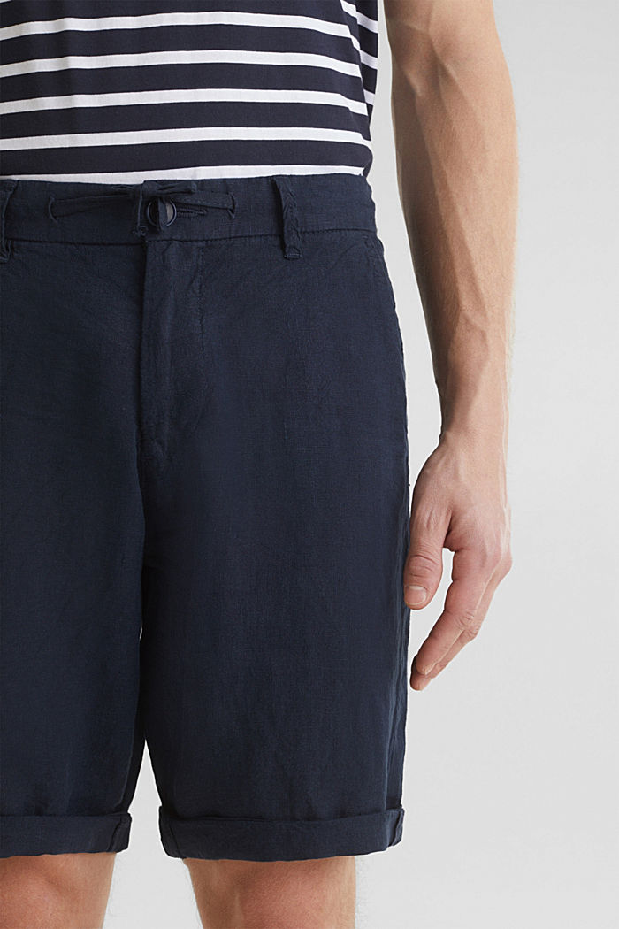 100% linen: shorts with a drawstring, NAVY, detail image number 1