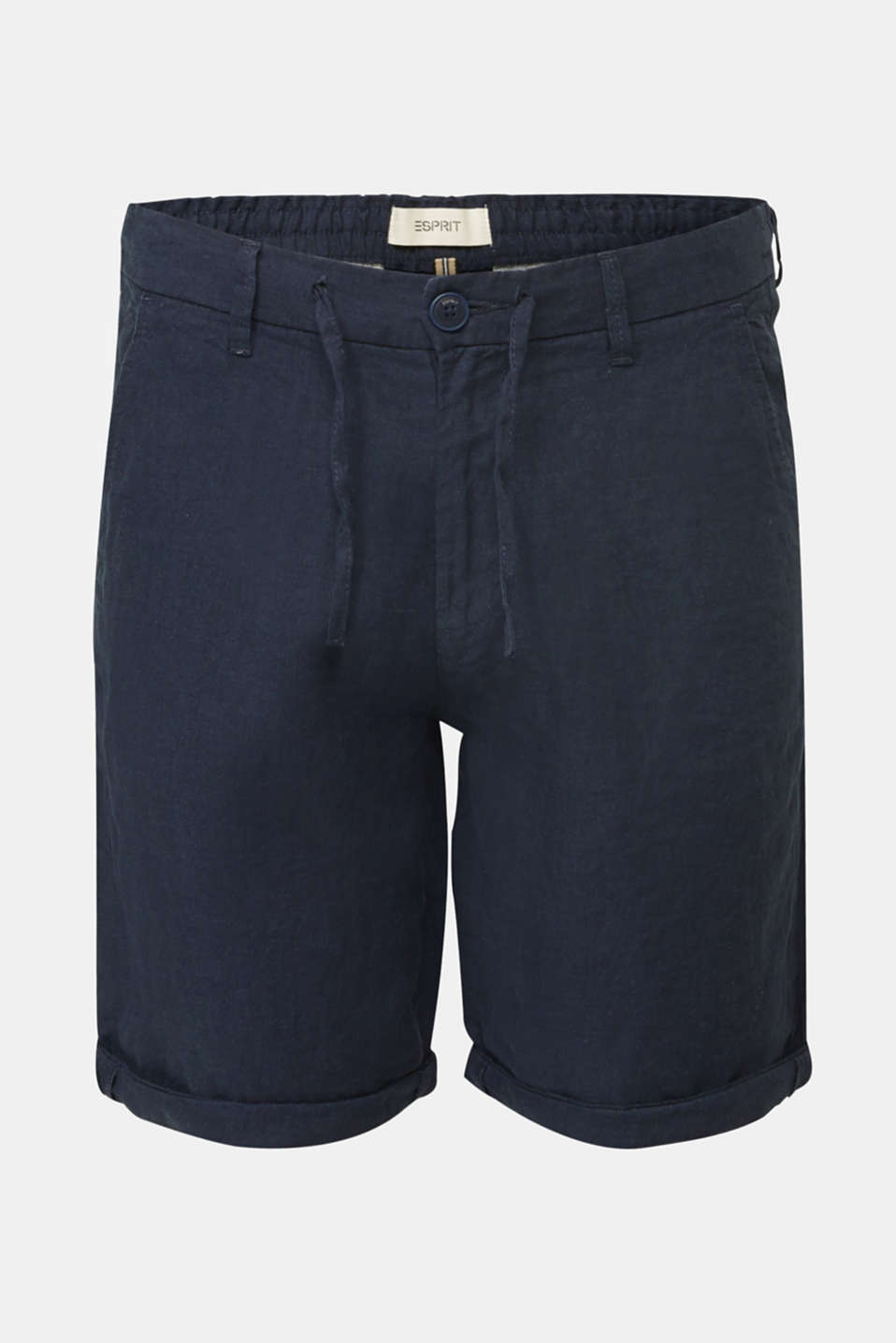100% linen: shorts with a drawstring, NAVY, detail image number 4