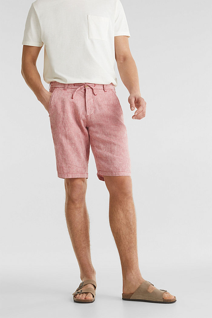 100% Leinen: Shorts mit Kordelzug, RED, detail image number 0