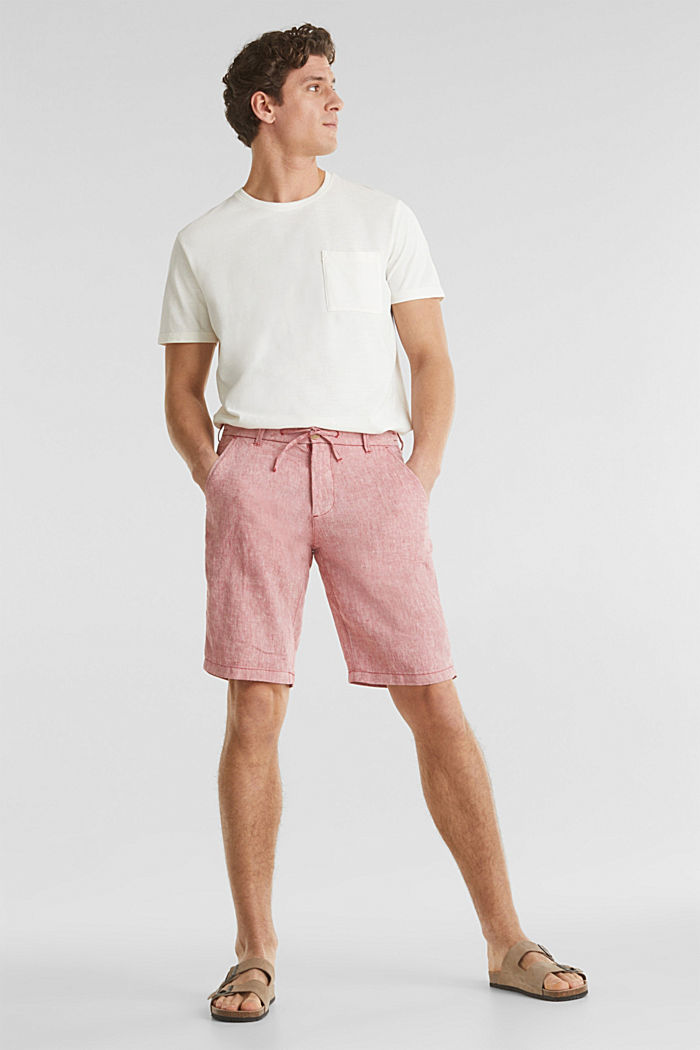 100% linen: shorts with a drawstring, RED, detail image number 1