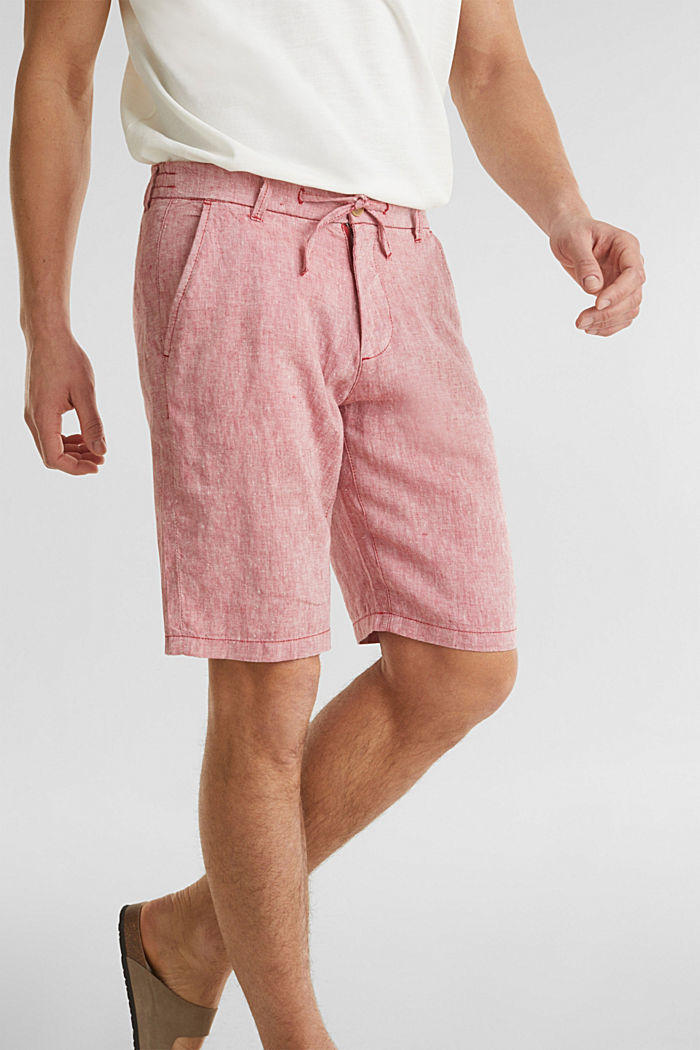 100% Leinen: Shorts mit Kordelzug, RED, detail image number 2
