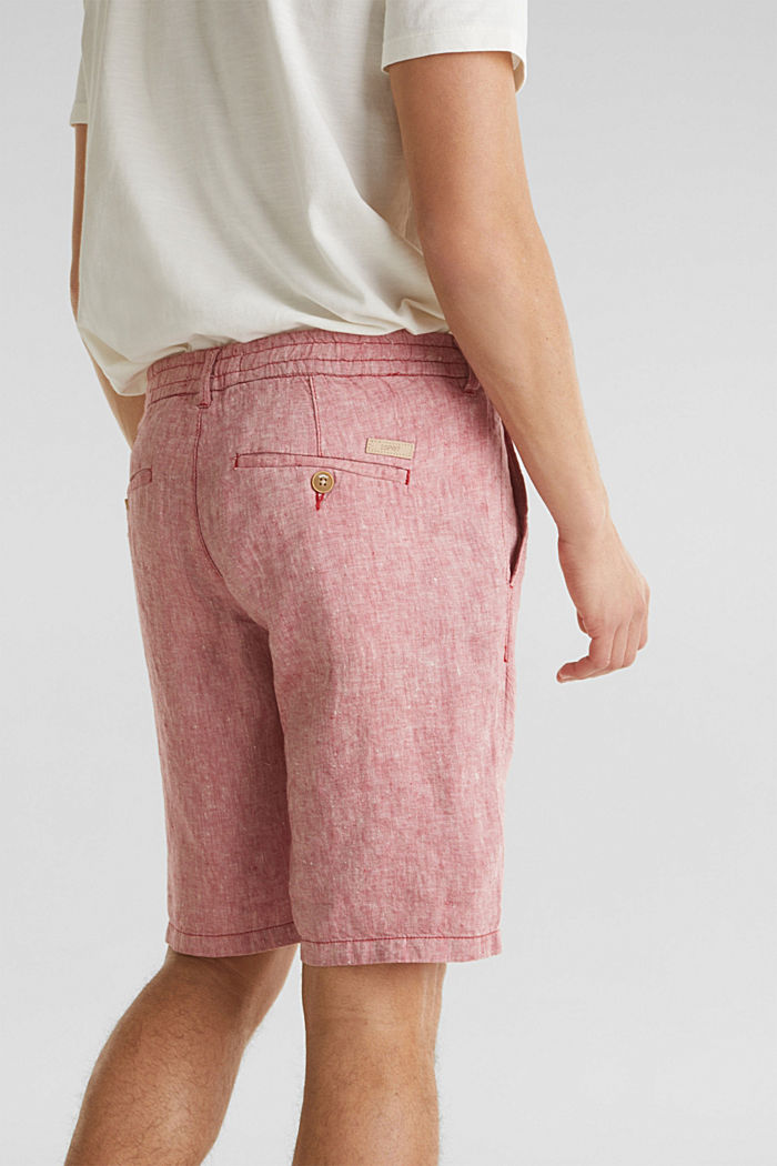 100% Leinen: Shorts mit Kordelzug, RED, detail image number 5