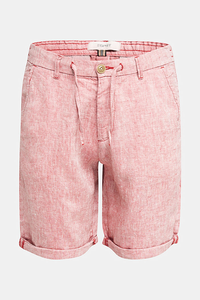100% Leinen: Shorts mit Kordelzug, RED, detail image number 6