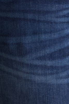 Denim shorts with whiskering, BLUE DARK WASH, detail