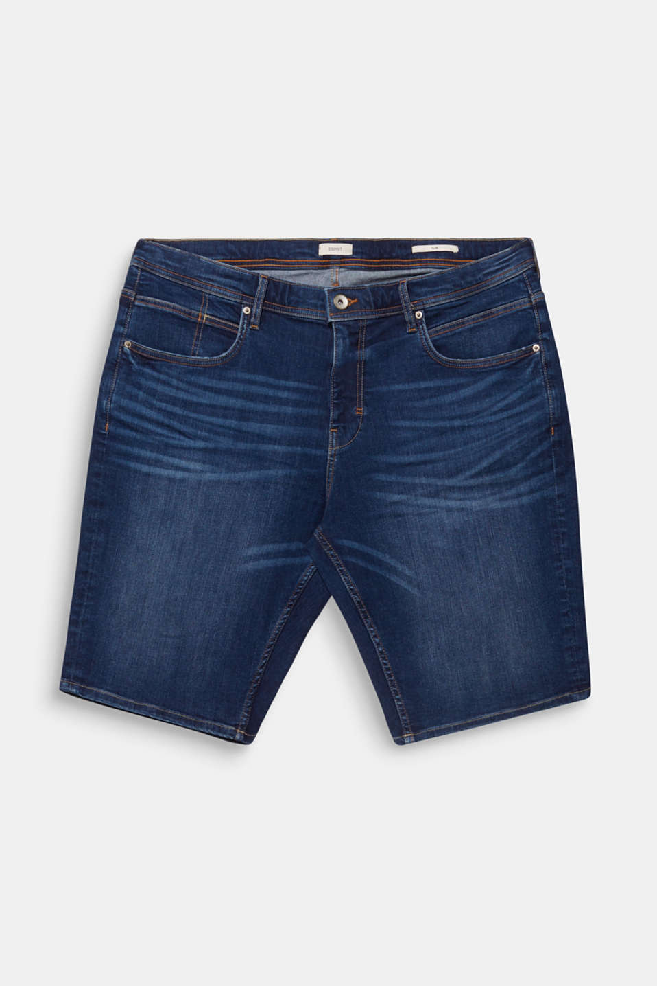 Denim shorts with whiskering, BLUE DARK WASH, detail image number 6