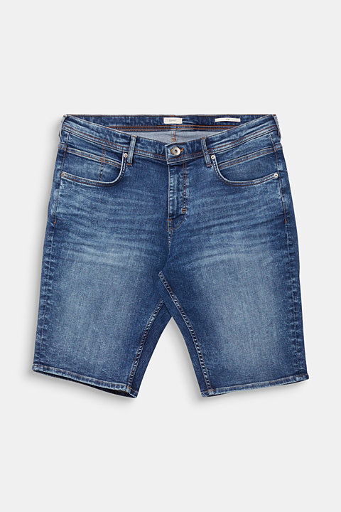 Denim shorts with whiskering