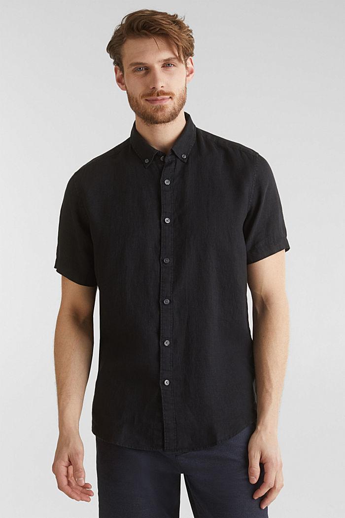 100% linen: button-down shirt, BLACK, detail image number 0