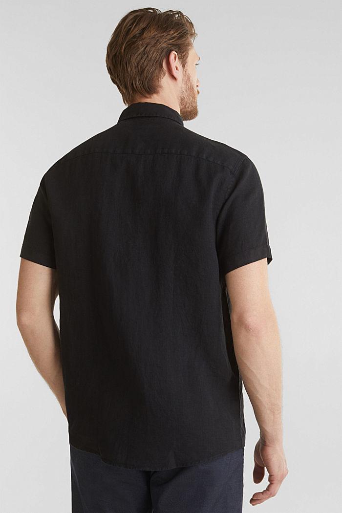 100% linen: button-down shirt, BLACK, detail image number 2