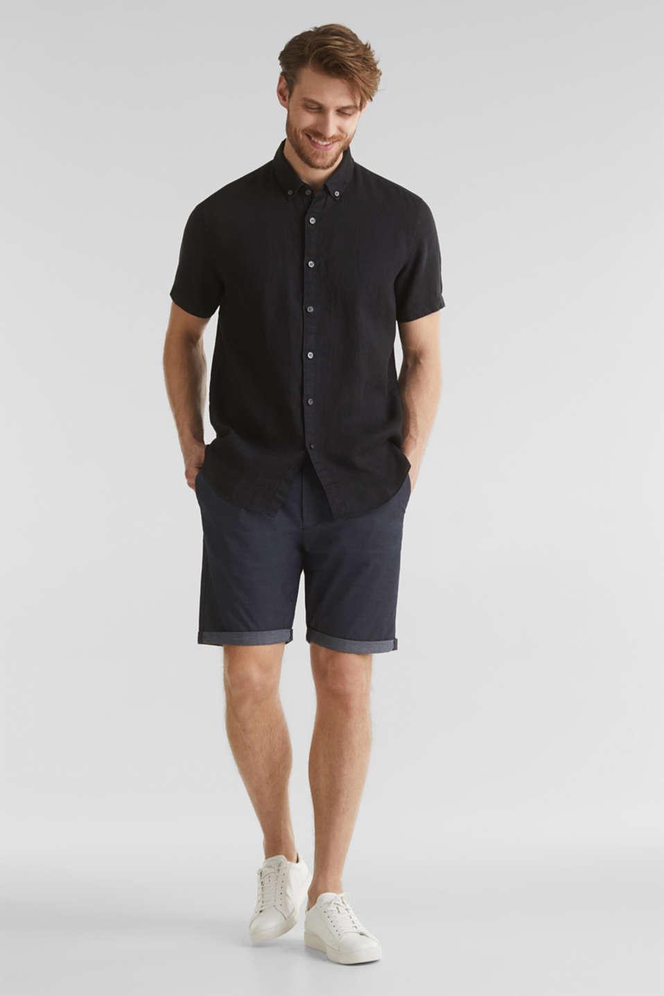 100% linen: button-down shirt, BLACK, detail image number 1