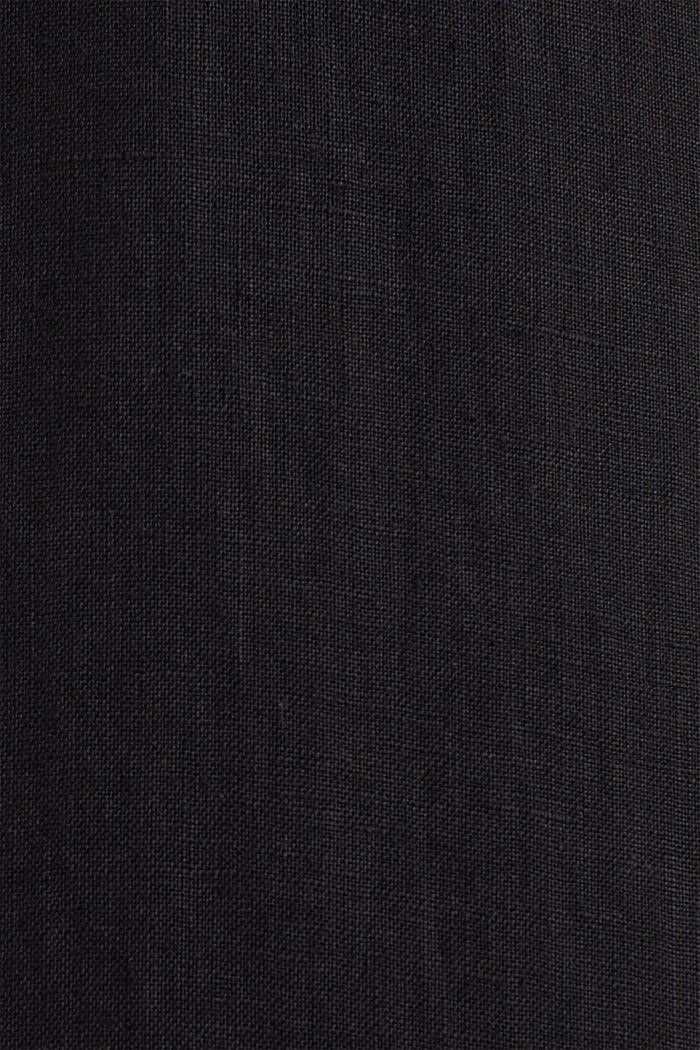 100% linen: button-down shirt, BLACK, detail image number 3