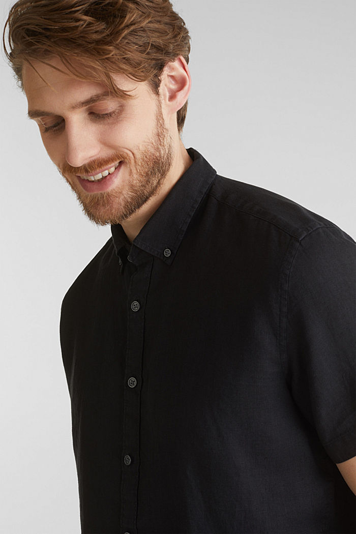 100% Leinen: Button-Down-Hemd, BLACK, detail image number 4