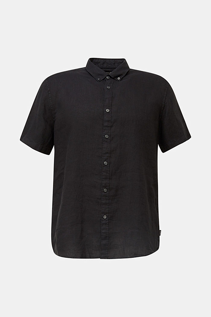 100% Leinen: Button-Down-Hemd, BLACK, detail image number 5