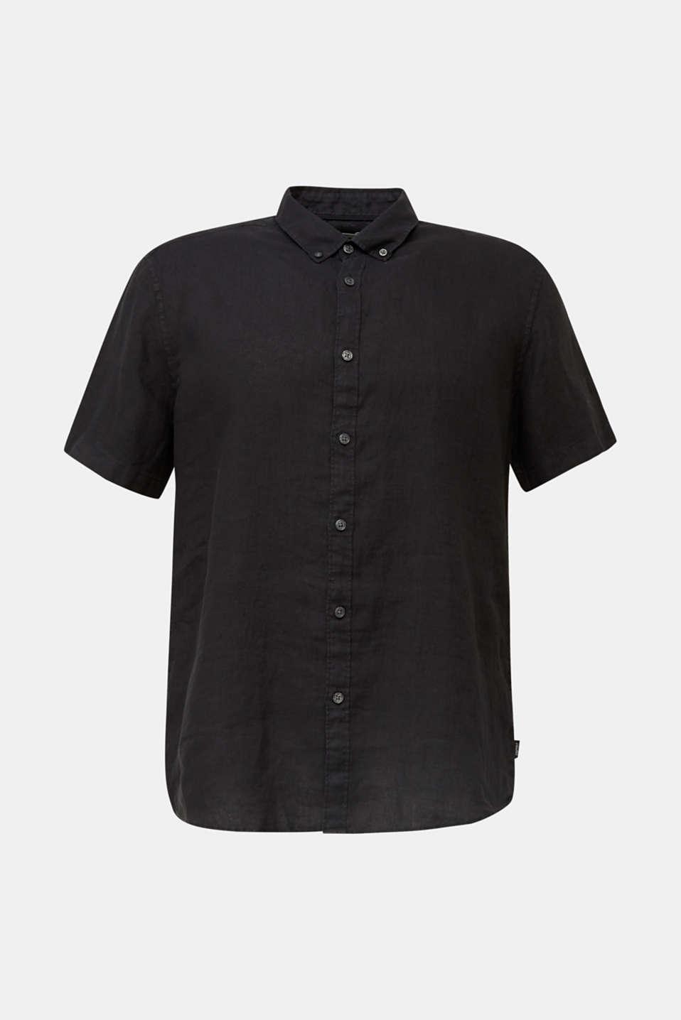 100% linen: button-down shirt, BLACK, detail image number 5