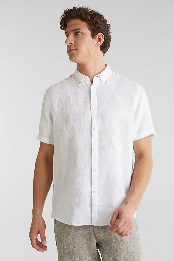 100% linen: button-down shirt, WHITE, detail image number 0