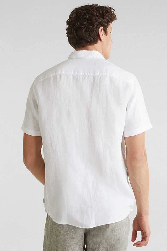 100% linen: button-down shirt, WHITE, detail image number 3