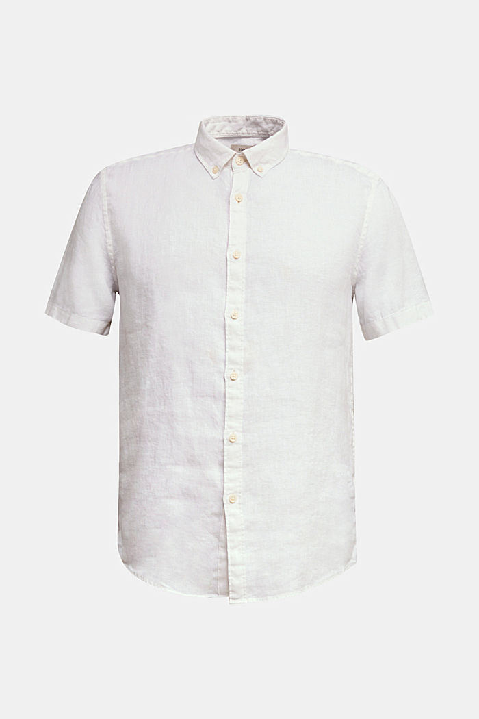 100% linen: button-down shirt, WHITE, detail image number 5