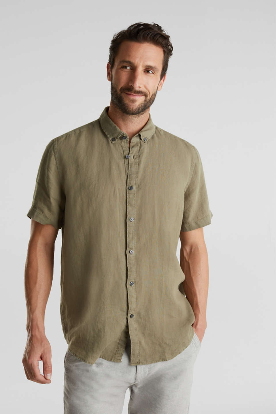 Esprit - 100% hør: button-down-skjorte