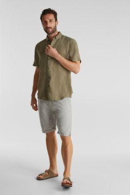 100% linen: button-down shirt, KHAKI GREEN, detail