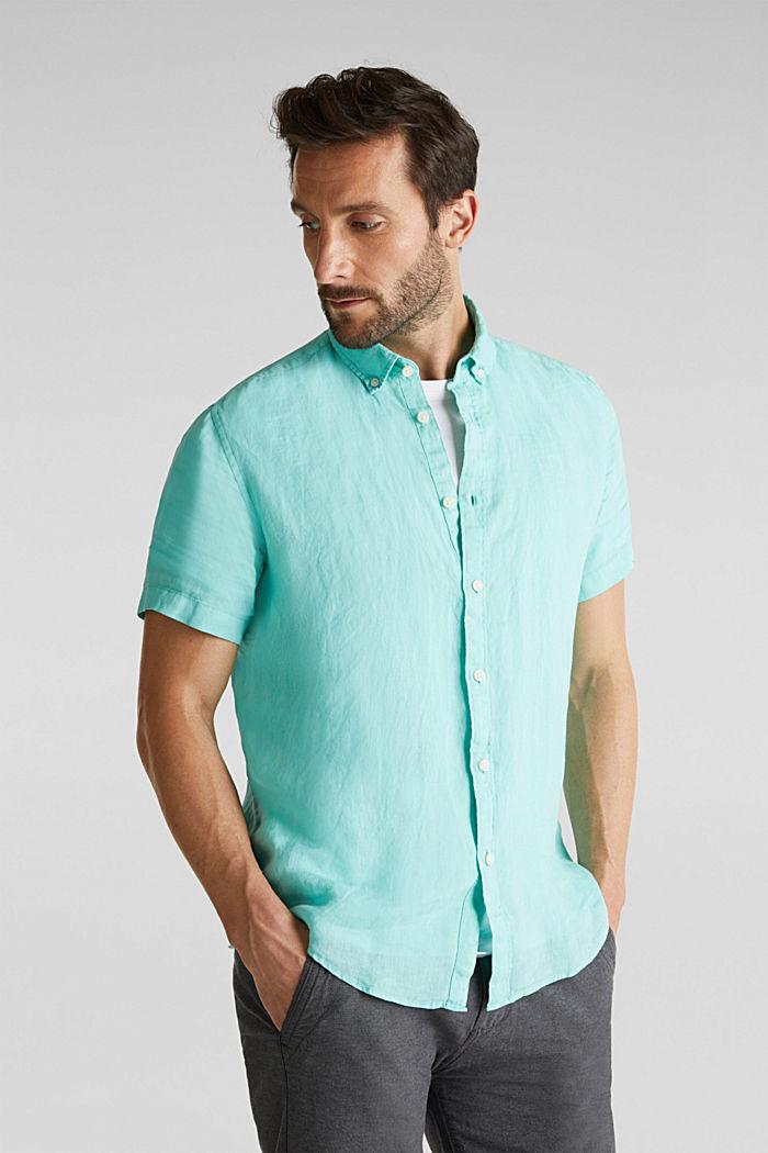 100% linen: button-down shirt, AQUA GREEN, detail image number 0