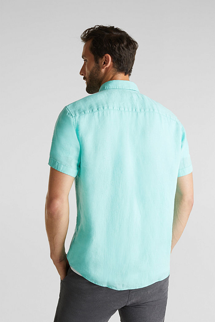 100% linen: button-down shirt, AQUA GREEN, detail image number 3