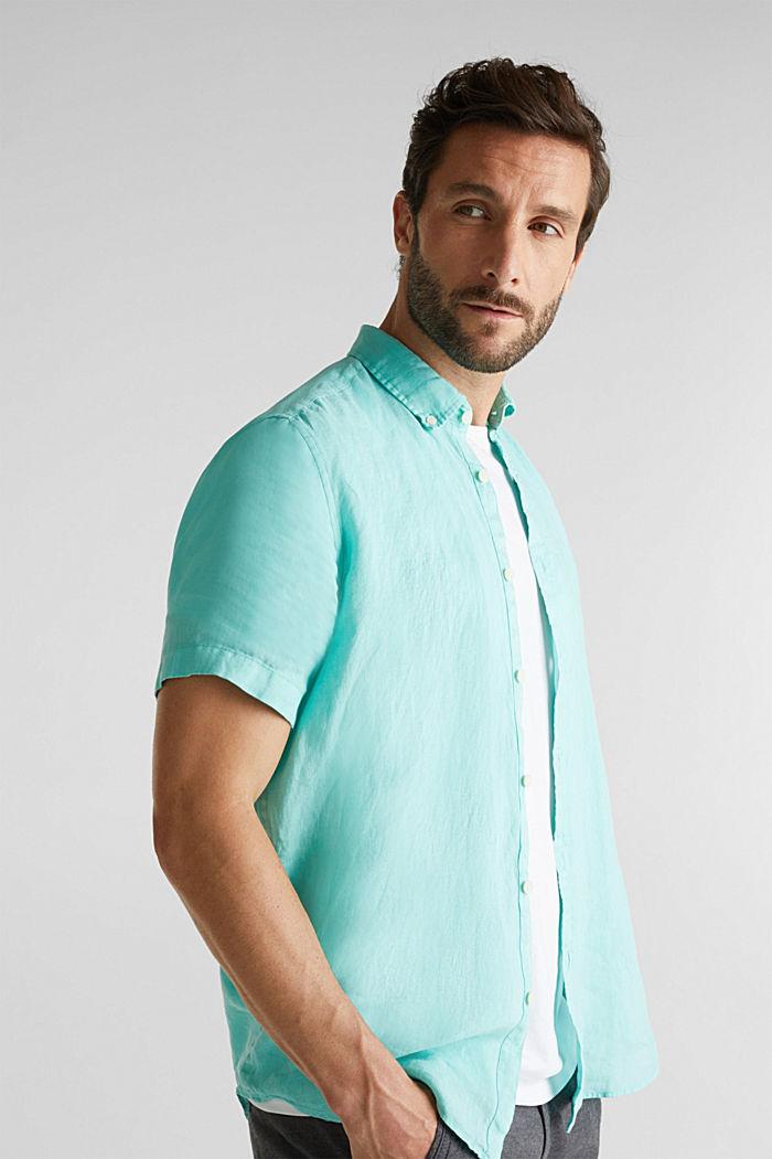 100% linen: button-down shirt, AQUA GREEN, detail image number 5