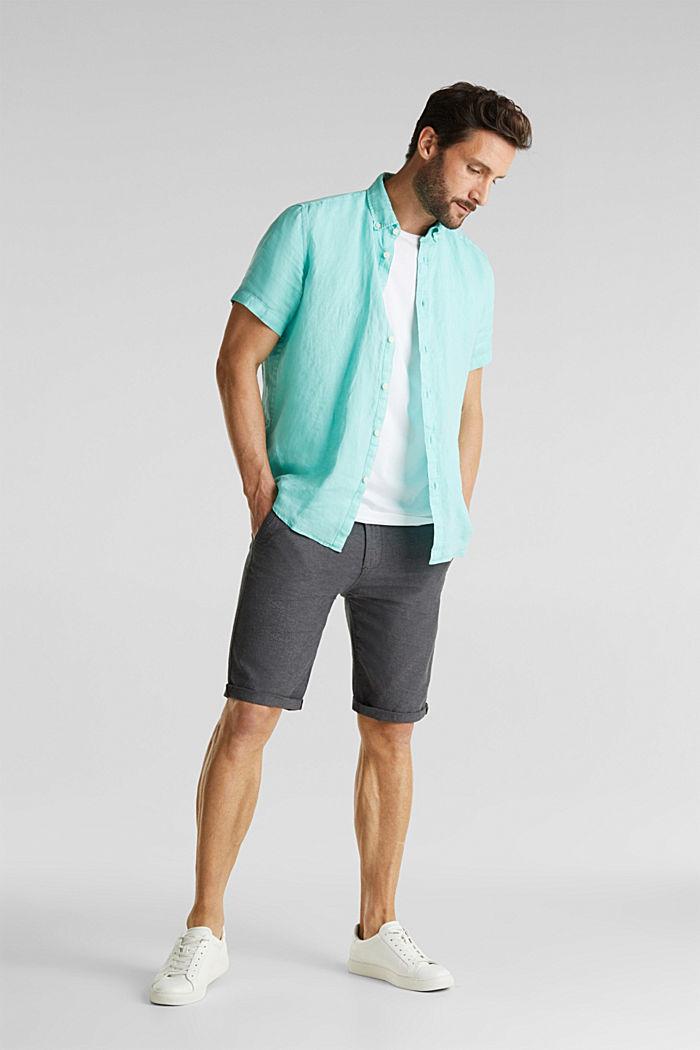 100% linen: button-down shirt, AQUA GREEN, detail image number 1