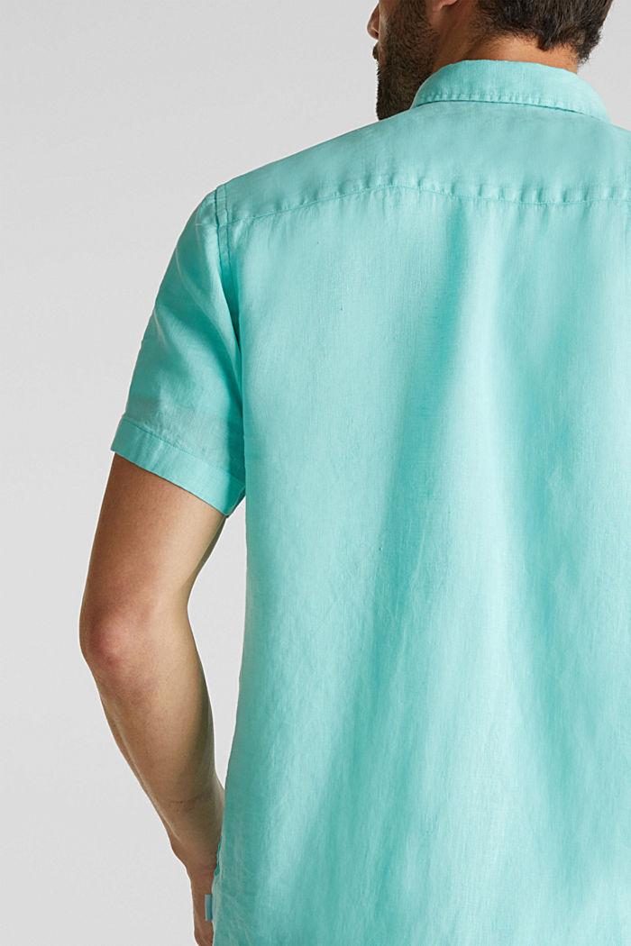 100% linen: button-down shirt, AQUA GREEN, detail image number 2
