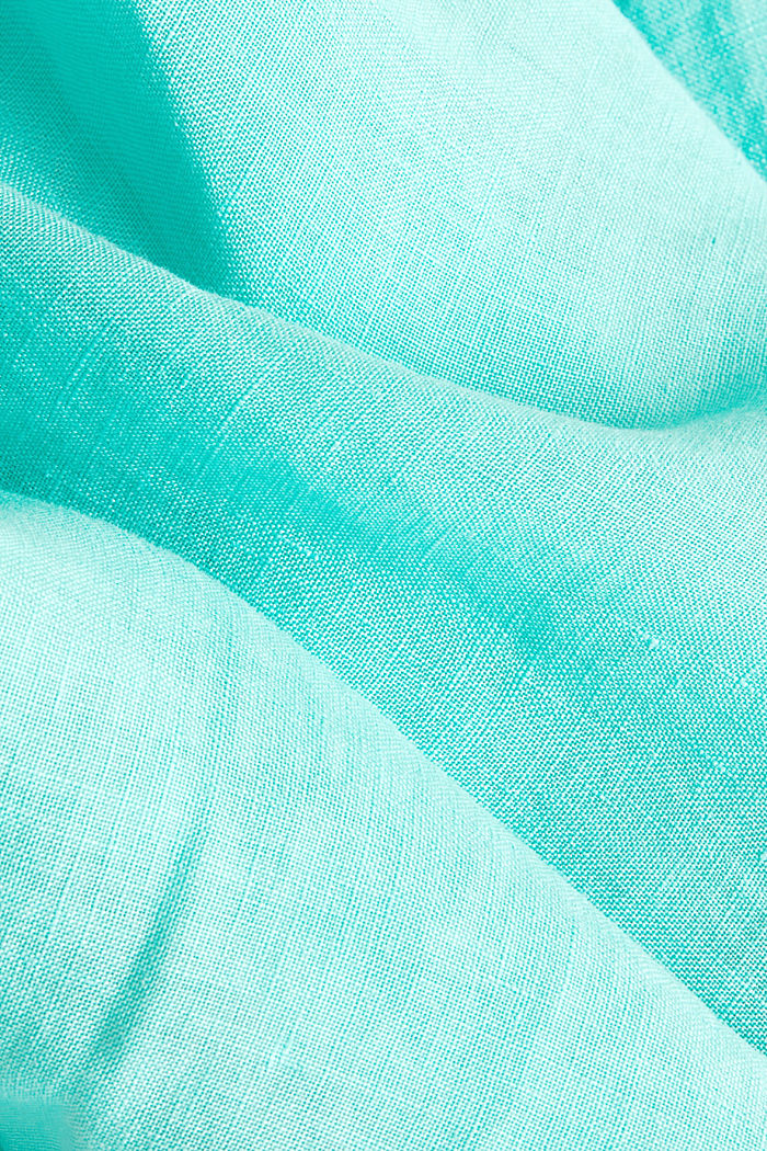 100% linen: button-down shirt, AQUA GREEN, detail image number 4