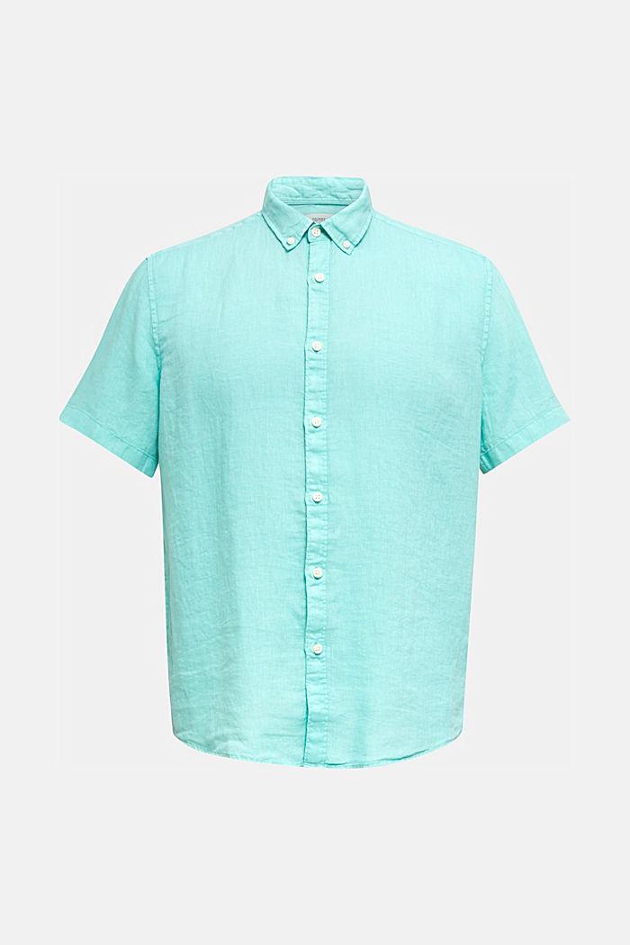 100% linen: button-down shirt, AQUA GREEN, detail image number 6