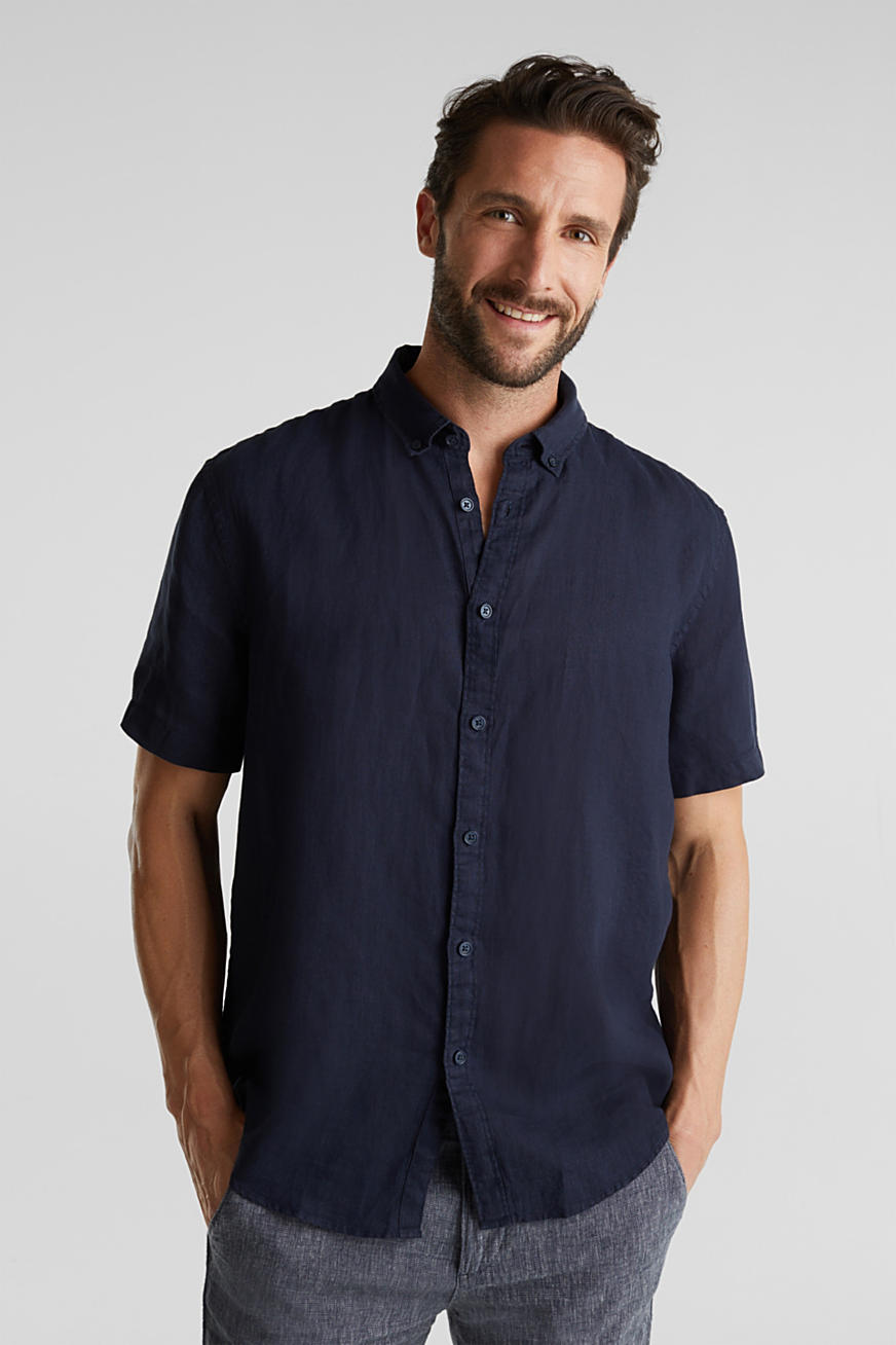 100% Leinen: Button-Down-Hemd