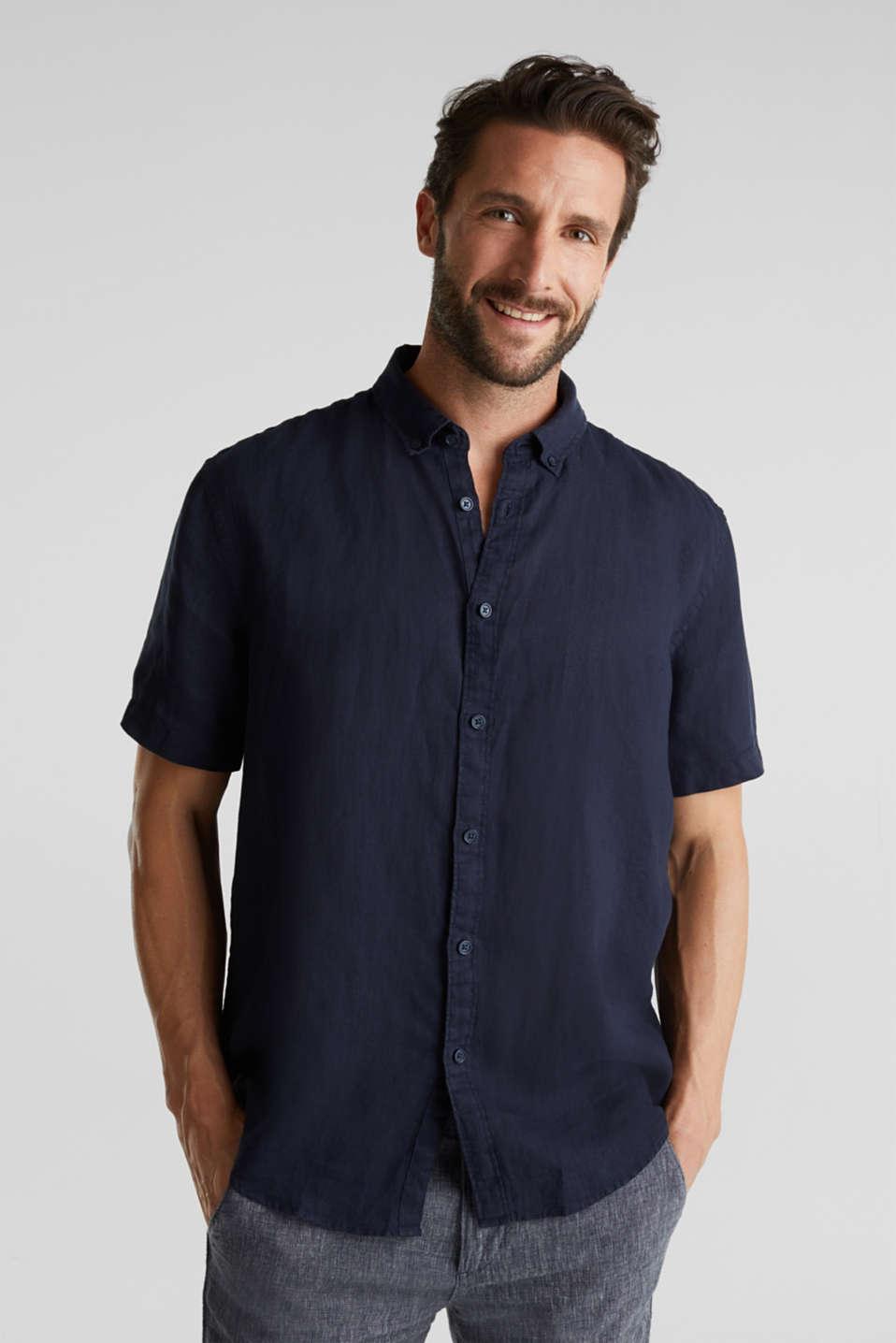 100% linen: button-down shirt, NAVY, detail image number 0