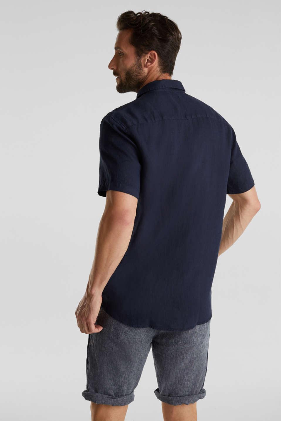 100% linen: button-down shirt, NAVY, detail image number 3
