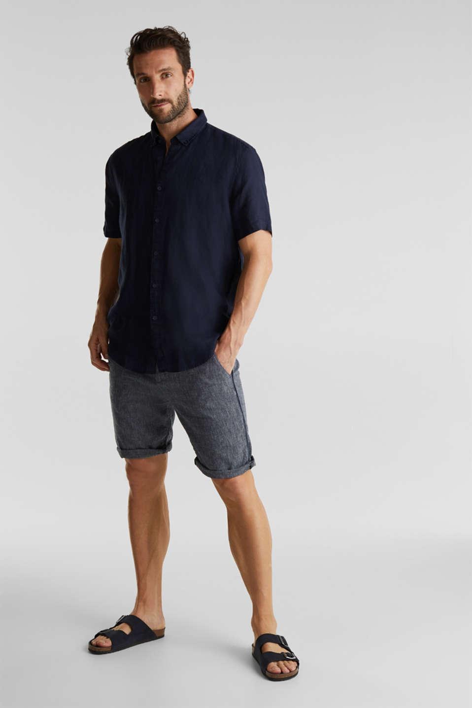 100% linen: button-down shirt, NAVY, detail image number 1