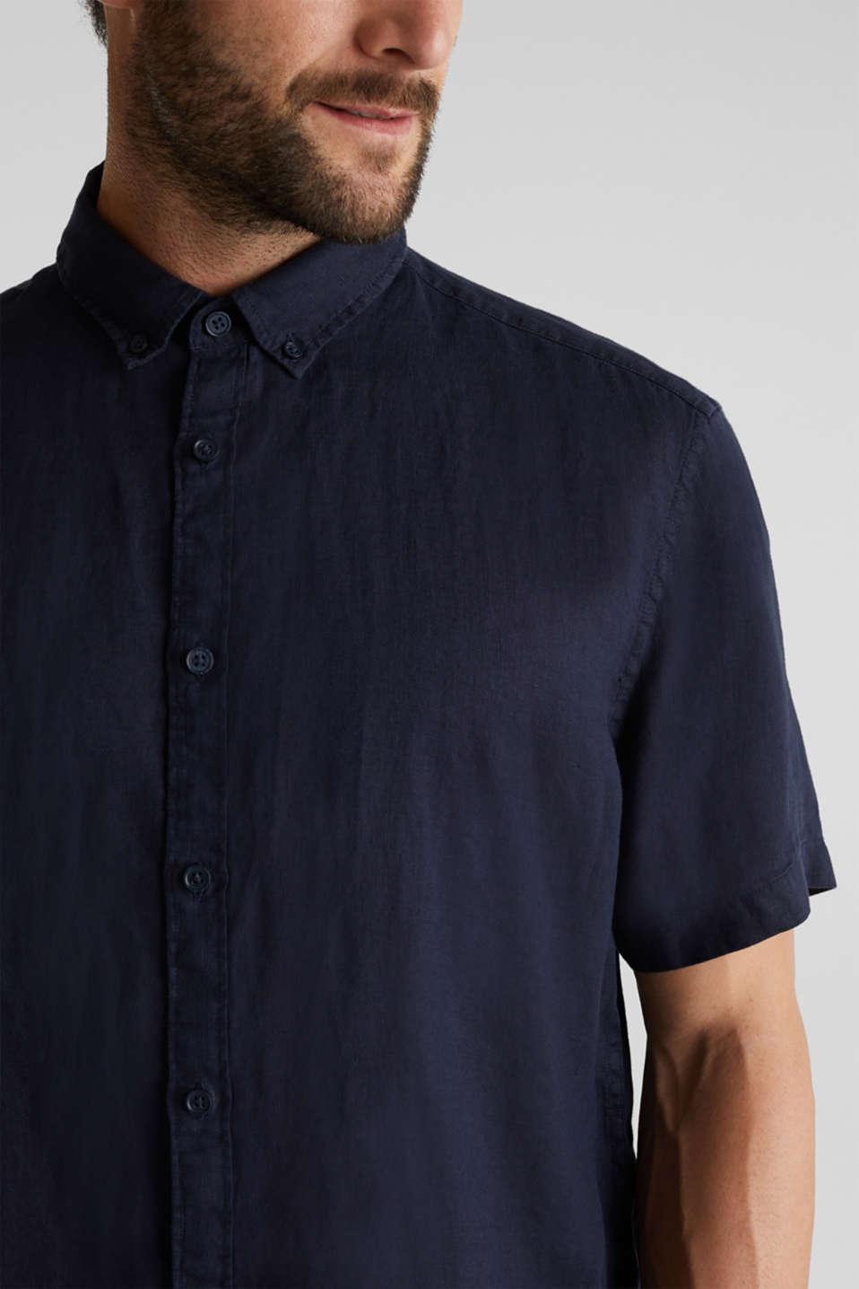 100% linen: button-down shirt, NAVY, detail image number 2