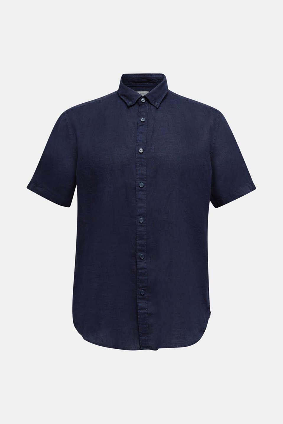 100% linen: button-down shirt, NAVY, detail image number 5