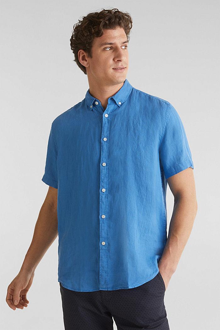 100% linen: button-down shirt, BLUE, detail image number 0