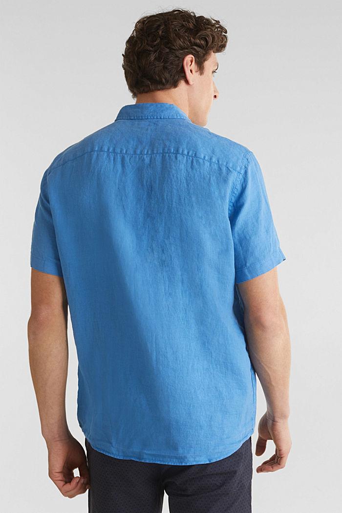 100% lin: la chemise dotée d'un col à pointes boutonnées, BLUE, detail image number 3