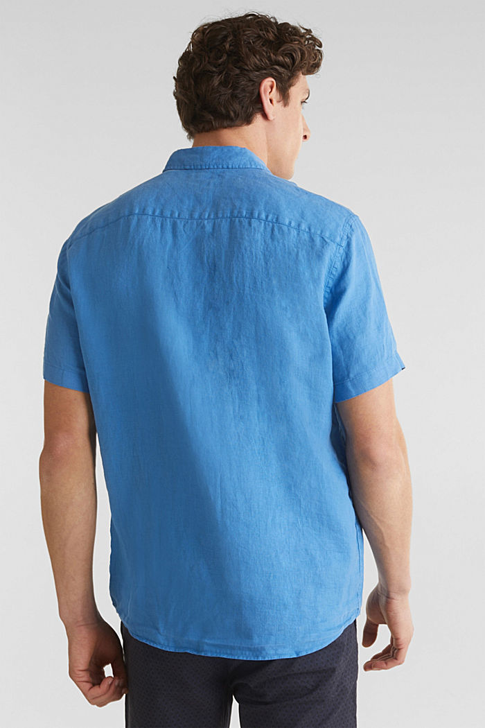 100% linen: button-down shirt, BLUE, detail image number 3