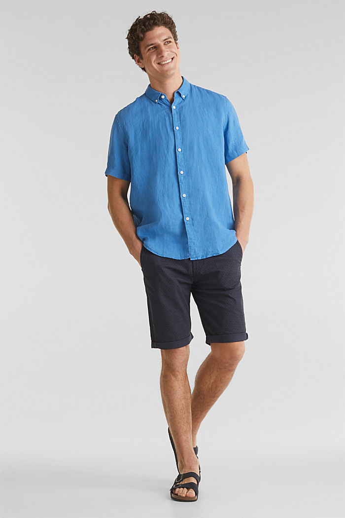 100% lin: la chemise dotée d'un col à pointes boutonnées, BLUE, detail image number 1