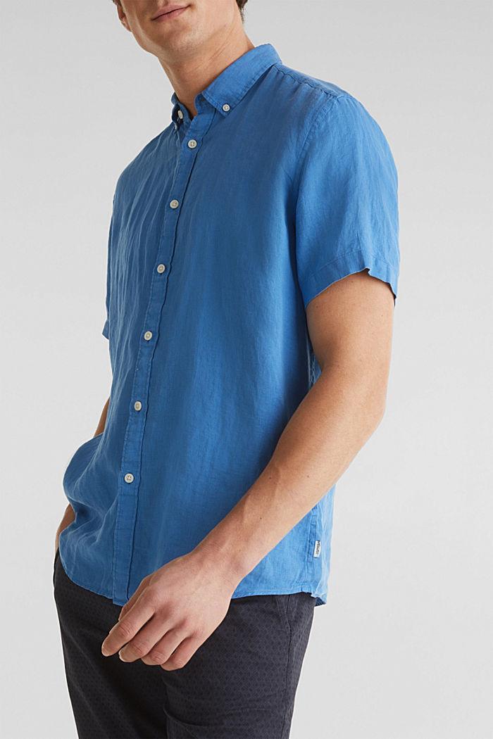100% linen: button-down shirt, BLUE, detail image number 2