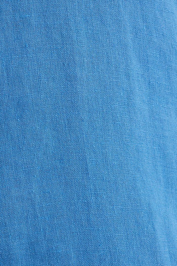 100% linen: button-down shirt, BLUE, detail image number 4