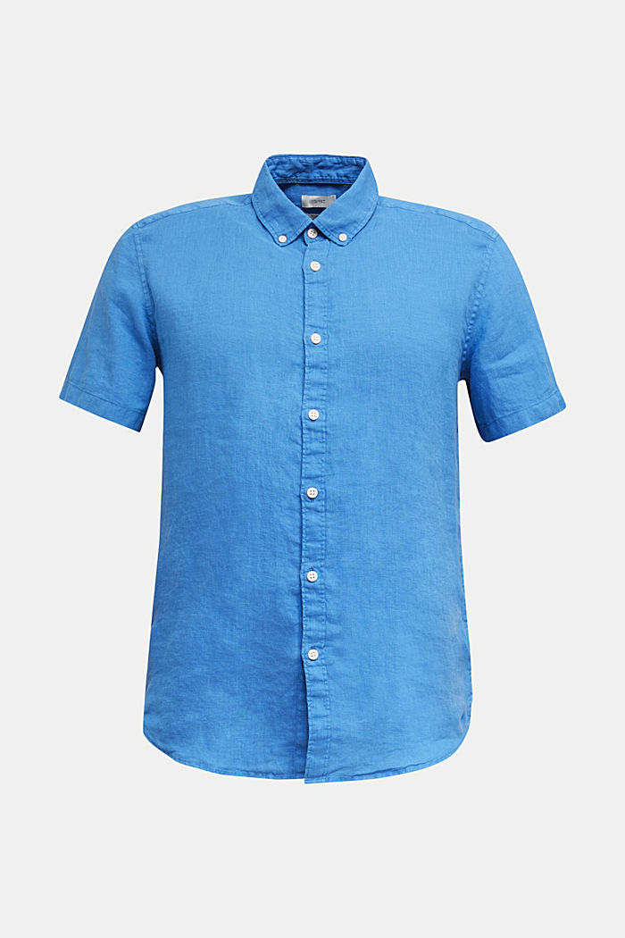 100% linen: button-down shirt, BLUE, detail image number 6