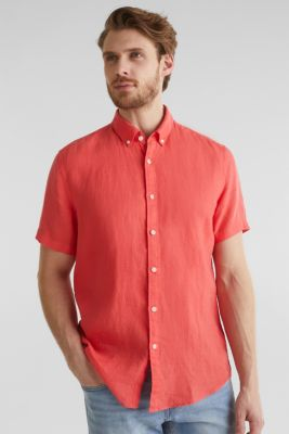 100% linen: button-down shirt, CORAL RED, detail