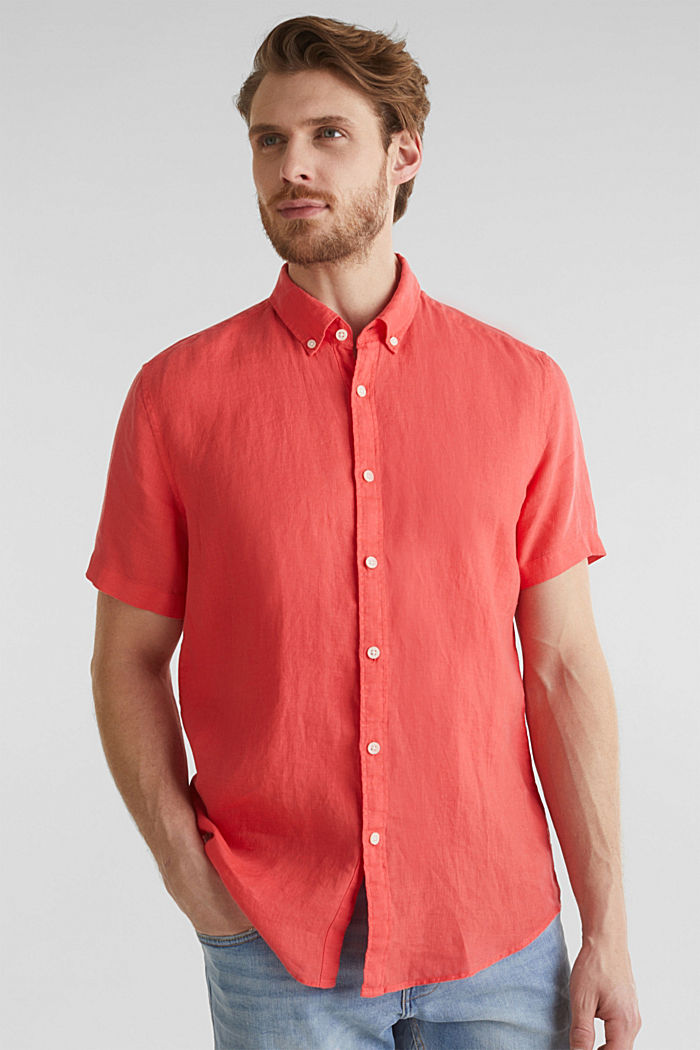 100% linen: button-down shirt, CORAL RED, detail image number 0