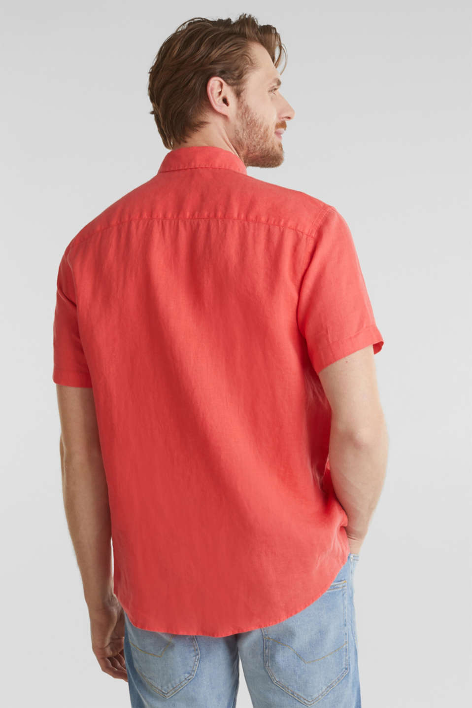 100% linen: button-down shirt, CORAL RED, detail image number 1